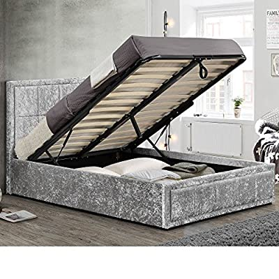 Happy Beds Hannover Crushed Velvet Fabric Ottoman Storage Bed - cheap UK light shop.