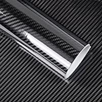 Bundle of 2, KKmoon Black 5D Vinyl Film Carbon Fiber Car Wrap Film Carbon Fiber Car Sticker Accessory Auto Film