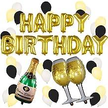Conjunto de Globos Dorados de Cumpleaños y Champagne – Decoraciones de Fiesta de Cumpleaños – 21 -30 – 40 – 50 Años – Suministros Divertidos para Fiestas de Cumpleaños