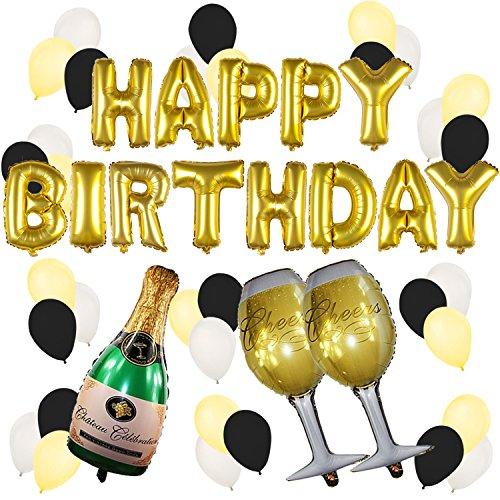 Preisvergleich Produktbild Happy Birthday Luftballons gold mit Champagner zu deinem Geburtstag – Geburtstags Party Deko Zubehör – 18. 30. 40. 50.