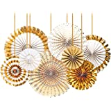 Party Propz Golden Paper Fans Decoration Items-8Pcs Set for Adult, Husband, Wife, Girls Or Boys Birthday/House Wall Decoratio