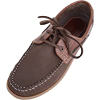 Absolute Footwear Mens Real Leather Smart Casual Slip On Deck Boat Shoes with Lace Fastening
