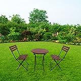 defacto Set di mobili da giardino 3 pezzi tavolo da balcone balcone sedie terrazza ✔ pieghevole ✔ tavolo pieghevole rotondo con 2 sedie pieghevoli ✔ gruppo di seduta ✔ balcone set rosso/nero