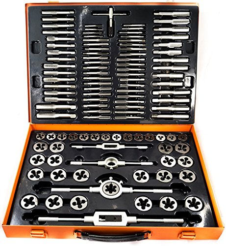 Kit set maschi e filiere 110 pz in acciaio al tungsteno cassetta metallo M2-M18