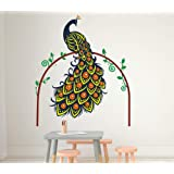 Amazon Brand - Solimo PVC Wall Sticker for Living Room (Peacock in The Woods, Multicolour, Ideal Size on Wall - 100 cm x 120