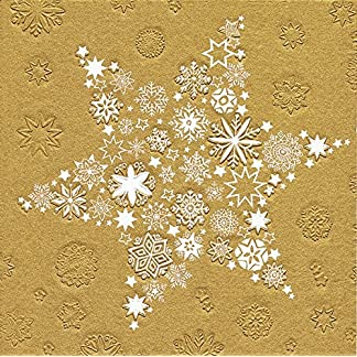 '16servilletas relieve Estrella de Navidad oro (Moments My Xmas Star Oro) Navidad 33x 33