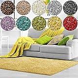 Shaggy Teppich Bali | weicher Hochflor Teppich für Wohnzimmer, Schlafzimmer und Kinderzimmer | mit GUT-Siegel | verschiedene Größen | viele moderne Farben (140 x 200 cm, gelb)