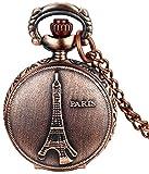 #8: LMP3Creation Fashion Classical Bronze Vintage Retro Antique Look Victorian Style Paris Eiffel Tower Pocket Watch - Unisex Pendant Necklace Watch (POW-0189)