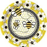 Fleißige Bienchen-Partyteller mit schwirrenden Bienen und Blumenmotiv, 8er Pack, 22cm