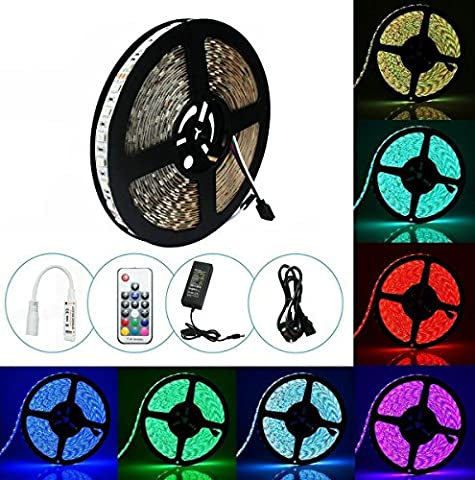 Waterproof 10m LED Strip Lights, Guaiboshi 5050 RGB Color Chaging Ambient Lighting LED Tape Full Kit with RF Remote Control for TV Home Christmas Decoration