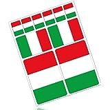 Biomar Labs® 10 x PVC Adesivi Set Stickers Bandiera Nazionale Italia Italy per Auto Moto Finestrìno Porta Casco Scooter Skate