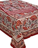 Chhipaprints Rectangle Red Lotous Table ...