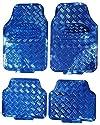 Universelle Passform für 4Stück Heavy Duty Blau Chrom Look Legierung Checker Plate Aluminium Effekt Vorne & Hinten Auto rutschfest Bodenmatten inkl. gestylt Schlüsselanhänger
