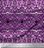 Soimoi Lila Viskose Chiffon Stoff Geometrisch & Paisley