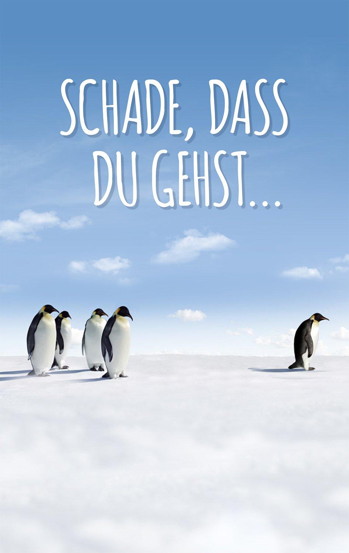 Karte Ruhestand.Schade Das Du Gehst Pinguine Grusskartenkaufen De