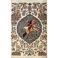 RugsTC 91 x 157 Pak Persan Tapis avec Pile de Soie et Laine - Design Pictorial Hunting Shikargah | 100% Noué à la Main Authentique en Ivoire, Gris, Couleurs Beige | catégorie 91 x 152