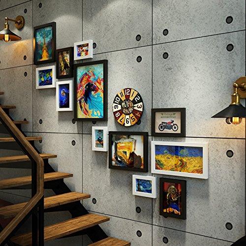 Bilderrahmen*Industrial Air Foto antike Treppe Wandmalereien kreative Wand Foto Rahmen aus Schwarz und Weiß ,0151 - Antike Wandmalereien