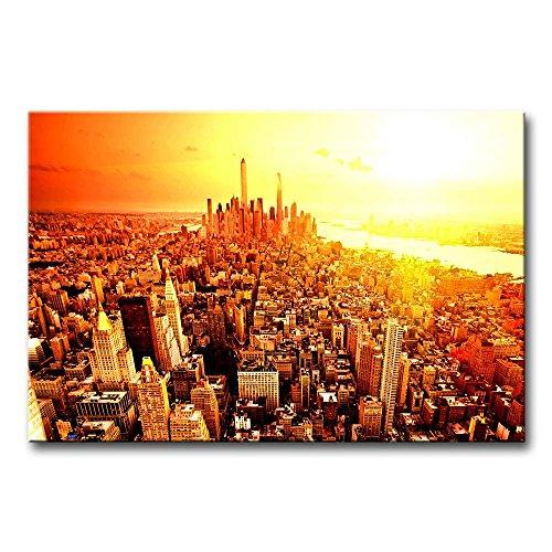 ür Home Decor NEW YORK CITY Sunrise Gemälde Moderne Giclée-gespannt und gerahmt Artwork Öl der für Wohnzimmer Dekoration Stadt Bilder Foto Prints auf Leinwand (Das Empire Hotel New York Halloween)