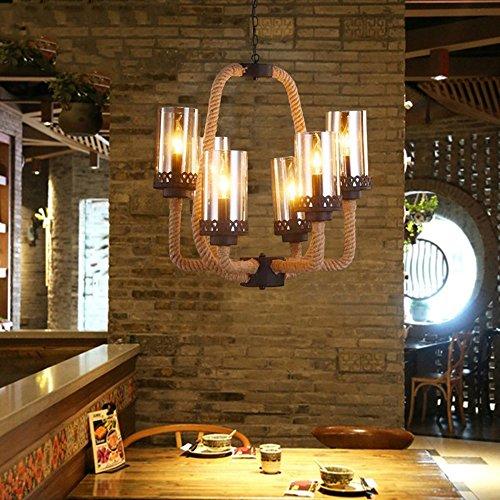 Lampadari- stile country americane nostalgia retrò personalizzato industrie creative paralumi di vetro corda di canapa tessuta ferro lampadario ristorante bar a tema internet cafe studio bar lampadario (forma opzionale) --interior lampadari ( dimensioni : 6 )
