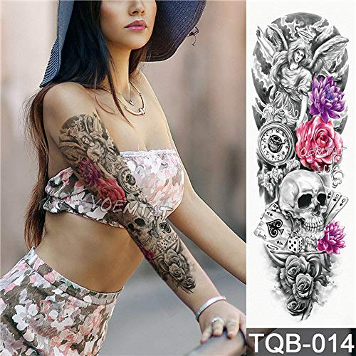 Handaxian 3pcsfull flower arm tattoo sticker angelo diavolo rose body paint water transport tattoo 3pcs-17