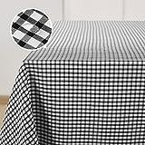 Deconovo Nappe de Table Rectangulaire Impermeable à Carreaux pour Anniversaire Picnic 137x200cm Noir et Blanc