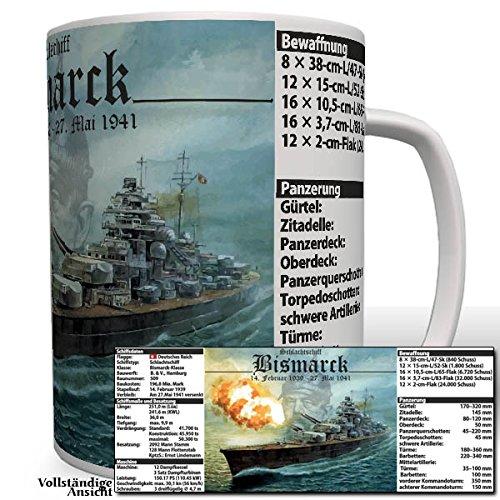 Bismarck mit Daten Schlachtschiff Kaiserliche Marine WK Wh Wappen Abzeichen Emblem- Tasse Becher Kaffee #3270