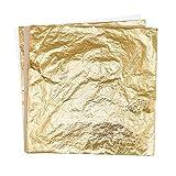 200 Feuilles Imitation Feuille d'Or pour les Arts, la Création de Dorure,Fabrication de Dorure, 14 par 14 cm