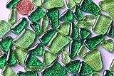 100g Glasmosaiksteine Glitter unregelmäßig Grünmix ca.60St.