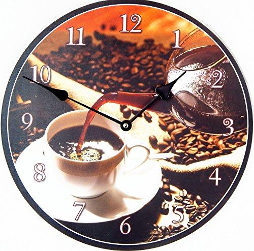 Wanduhr Kaffee moderne Küchenuhr mit 30 cm Durchmesser ohne Tickgeräusche