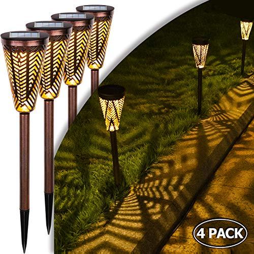 Solarleuchte Garten Wegeleuchten Metall Solarleuchte Solar Gartenleuchte LED Solar Licht Solarlampe Outdoor Wasserdicht Solarbetriebene Lichter für Terrasse Gehwege Villa Rasen Quadratische (4 Stück)