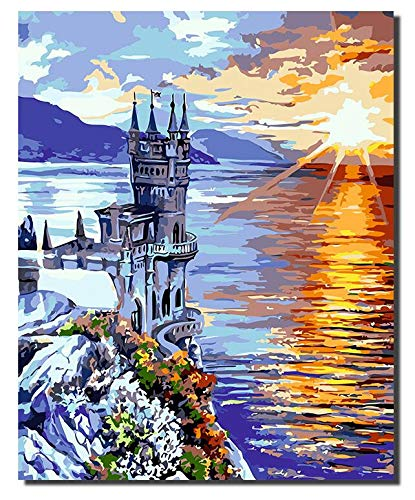 Superluckty Eingerahmt und kein Rahmen am Meer Sunset Tower Landschaft Digitale Malerei von Nummer nach Hause Ölgemälde Landschaftsmalerei 40x50cm