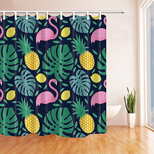 Flamingo Print Dusche Vorhänge Polyester-152,4x 182,9cm-Badezimmer Vorhang Set mit Stufenmatten Teppiche 23,6x 15,7inch-12Haken