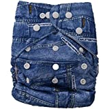 Free Size Reusable Cloth Diaper With 1 Insert - Denim Print - Navy Blue