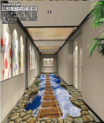 Poowef 3D Wallpaper 3D Stock Film 3D Stock des Shopping Store die Straße Flur zu den großen Selbstklebende lange Hängebrücke