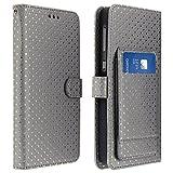 Jeija Universal Flip Cover für 3.8'' bis 4.3'' Smartphones, Schutzhülle mit Tupfen, Spiegel & Ständer, Silikoncase