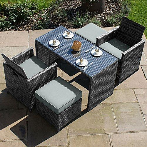 Maze Rattan Balkon-Set Cube–Grau