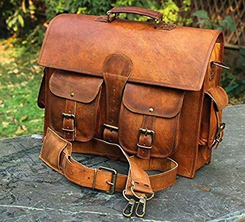 Leder Messenger Bag für Männer & Frauen, Vintage Leder Business Aktentasche für Laptops und Bücher ~ handgefertigt, RUGGED & Distressed ~ Original Retro...