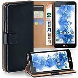 moex LG X Screen | Hülle Schwarz mit Karten-Fach 360° Book Klapp-Hülle Handytasche Kunst-Leder Handyhülle für LG X Screen Case Flip Cover Schutzhülle Tasche