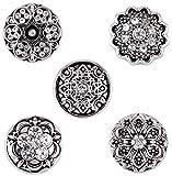 Morella® Damen SMALL Click-Button Set 5 Stück Druckknöpfe 12 mm Ø Ornamente mit Verzierungen