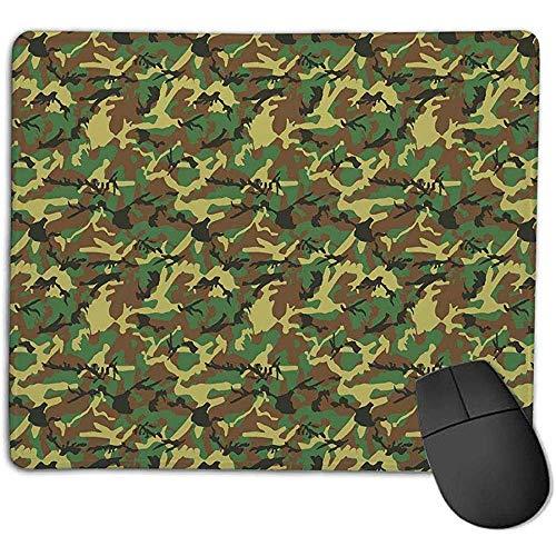 Camo,Woodland Camouflage Pattern Abstrakte Armee,die sich im Dschungel versteckt,Dunkelgrün Hellgrün Braun,für Laptop,Computer,PC,Tastatur 30X25CM -