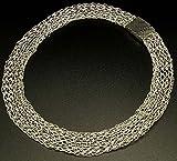 Kette, Halskette, Collier, Schlauchkette, gehäkelte Kette, Kette aus Draht, silberne Kette, Kette in Silber