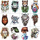 Wyuen 12 pezzi/lotto Watercolor Tiger tatuaggi temporanei per donne uomini Fashion Body art adulti impermeabile mano finto Tatoo 9.8 x 6 cm W12 – 22