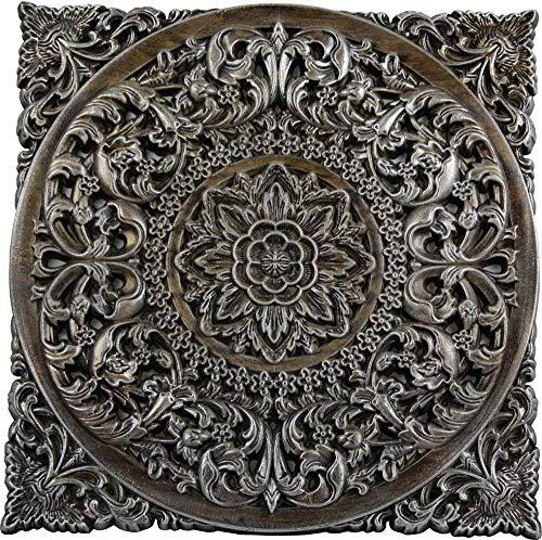 DRW Mandala Madera Cuadrado Plateado 50 x 50 cm