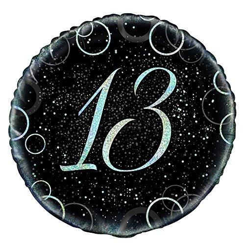 Unique Party 5581745,7cm Glitz Silber Folie 13. Geburtstag Ballon