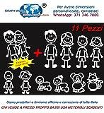 Graph World 11 Personaggi Adesivi Famiglia a Bordo per Mano Stickers per vetri Auto Colore Bianco Adatti Anche da attaccare alla carrozzeria