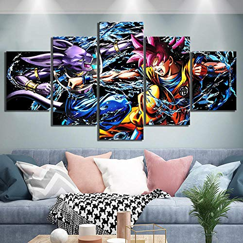 Agreey 5 Unidades de Dibujos Animados Fotos Beerus Vs Goku Super Saiyan Dios Dragon Ball Super Anime Cartel Obras de Arte de la Lona Pinturas para Decoración de Pared @ 30X40_30X60_30X80cm_Framed