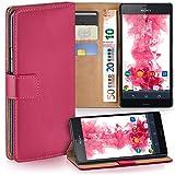 moex Sony Xperia Z3 | Hülle Pink mit Karten-Fach 360° Book Klapp-Hülle Handytasche Kunst-Leder Handyhülle für Sony Xperia Z3/Z3 Dual Case Flip Cover Schutzhülle Tasche