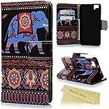 bq Aquaris M5 Funda Libro de Suave PU Leather Cuero - Mavis's Diary® Case Con Flip Case cover,Cierre Magnético,Función de Soporte,Billetera con Tapa para Tarjetas-Diseño de elefante
