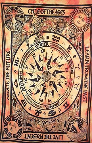 Traditionelle Jaipur Tie Dye Zyklus der Alter Stickset, Twin indischen Wandbehang, Bohemian Betten, Hippie Picknick Werfen, Boho Schlafsaal, Zimmerdekoration Gypsy Beach Decke (Hippie Decke Werfen)