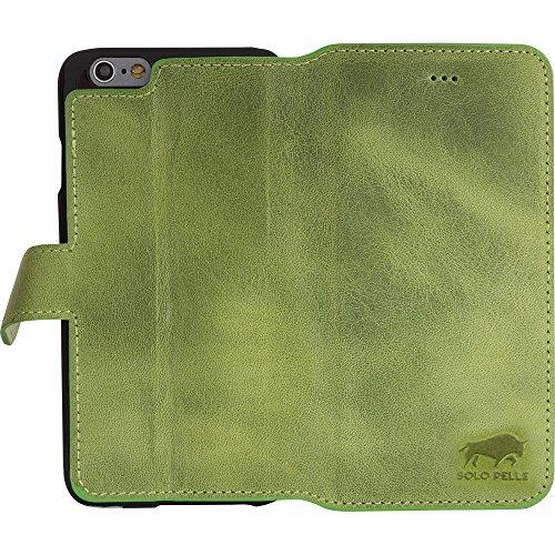 """Solo Pelle Iphone 6 Plus / 6S Plus (5.5 Zoll) """"Wallet"""" Ledertasche mit Aufstellfunktion & Kartenfächern, Vintage in Cognac Braun Vintage Grün"""